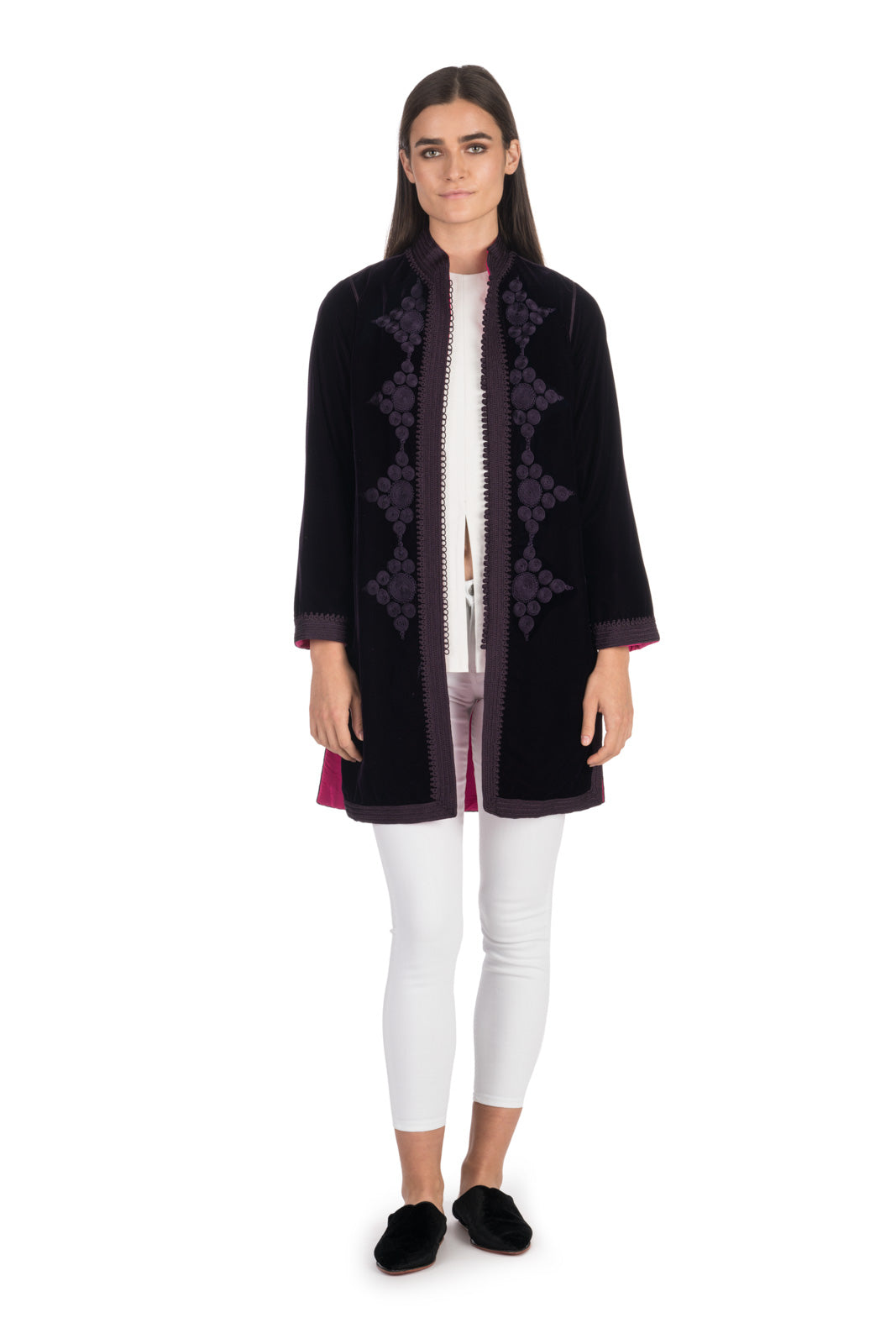 Aubergine Embroidered Velvet Tunic Coat with Fuchsia Silk Lining