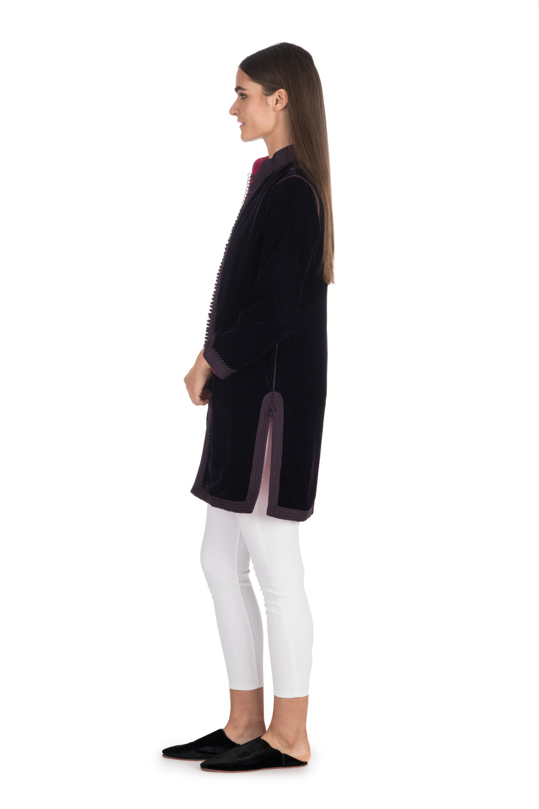 Aubergine Velvet Tunic Coat with Fuchsia Silk Lining