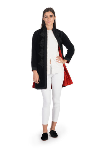 Black Embroidered Velvet Tunic Coat with Red Silk Lining