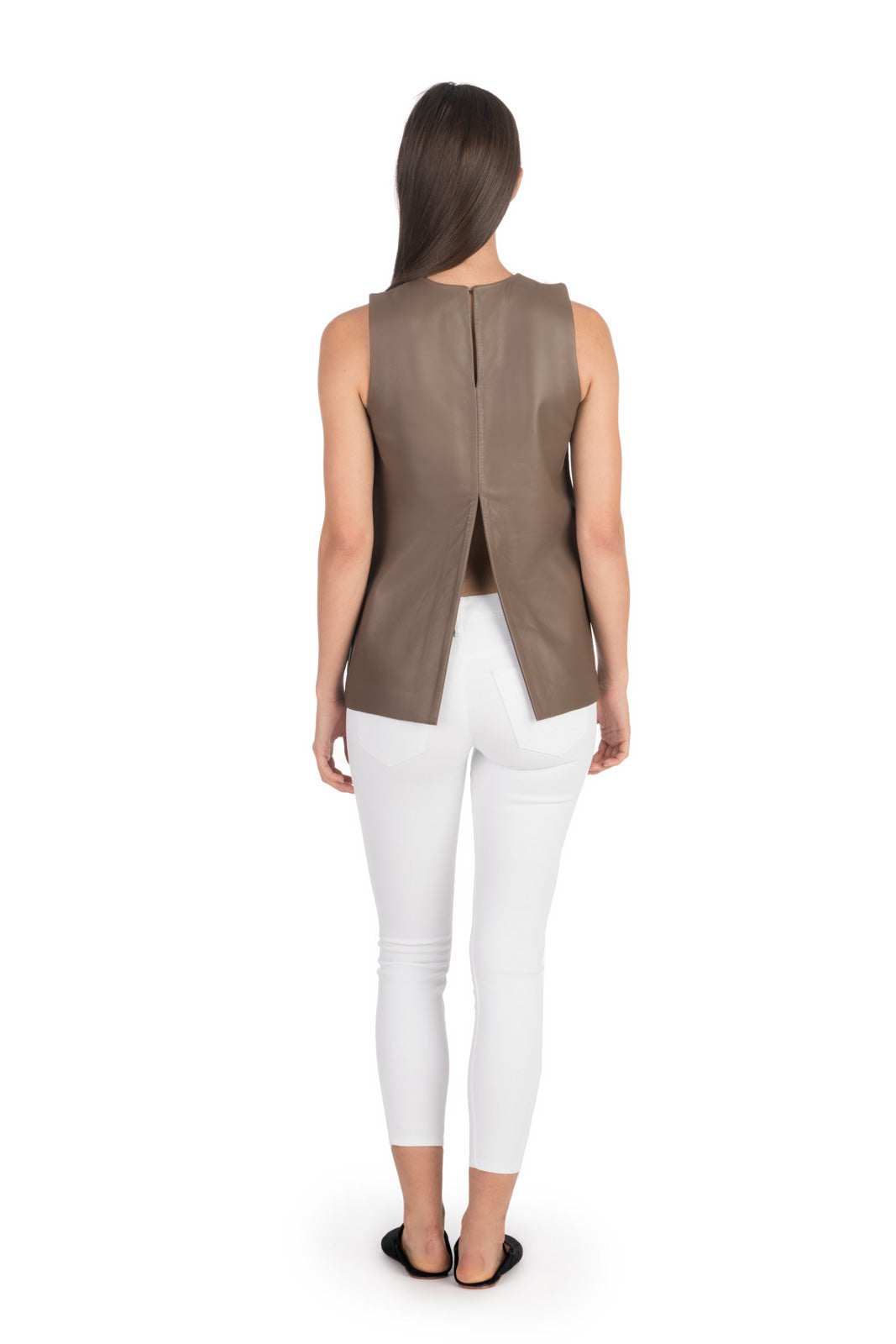 Taupe Leather Tunic Top