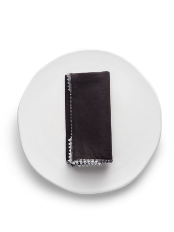 Black Linen Napkin with Embroidery (Set of 4)