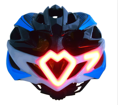 blue saftey helmet with blinker back