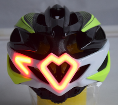 yellow safety helmet with blinker back