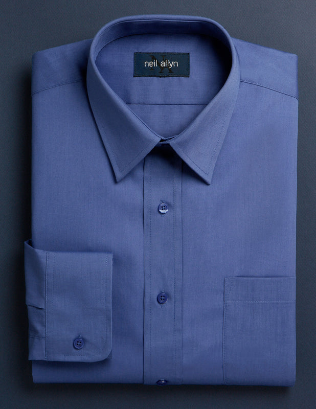 Men's Blue Button Down Dress Shirt - Caterwear.com