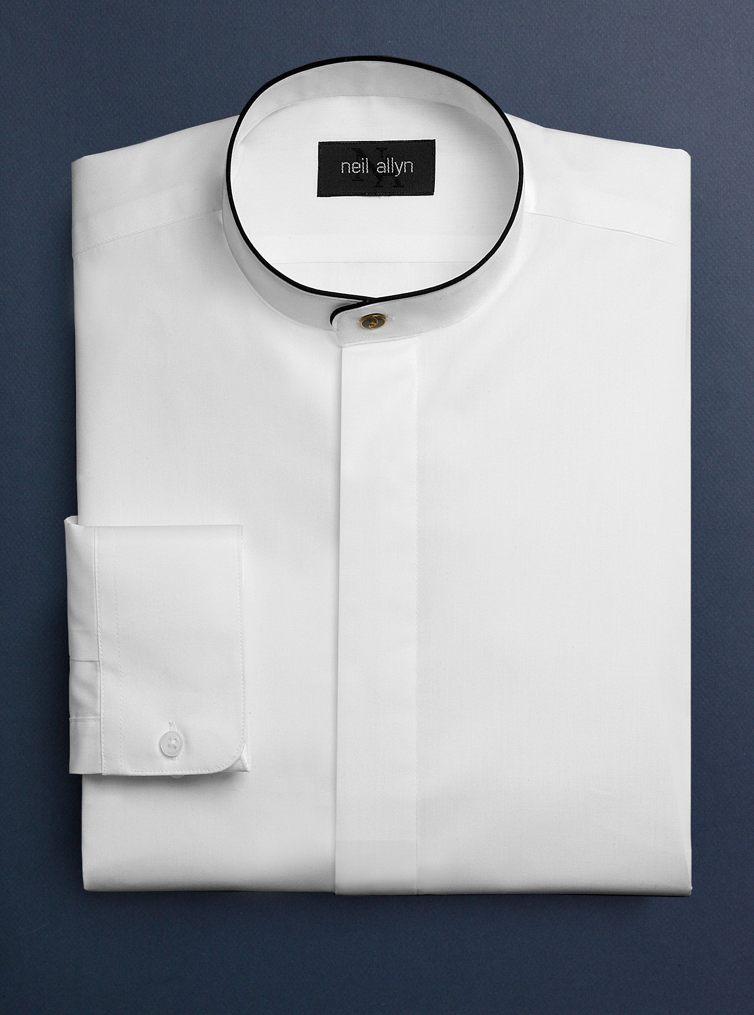 Men's Mandarin Dress Shirt with Fly Placket & Black Trim - Caterwear.com