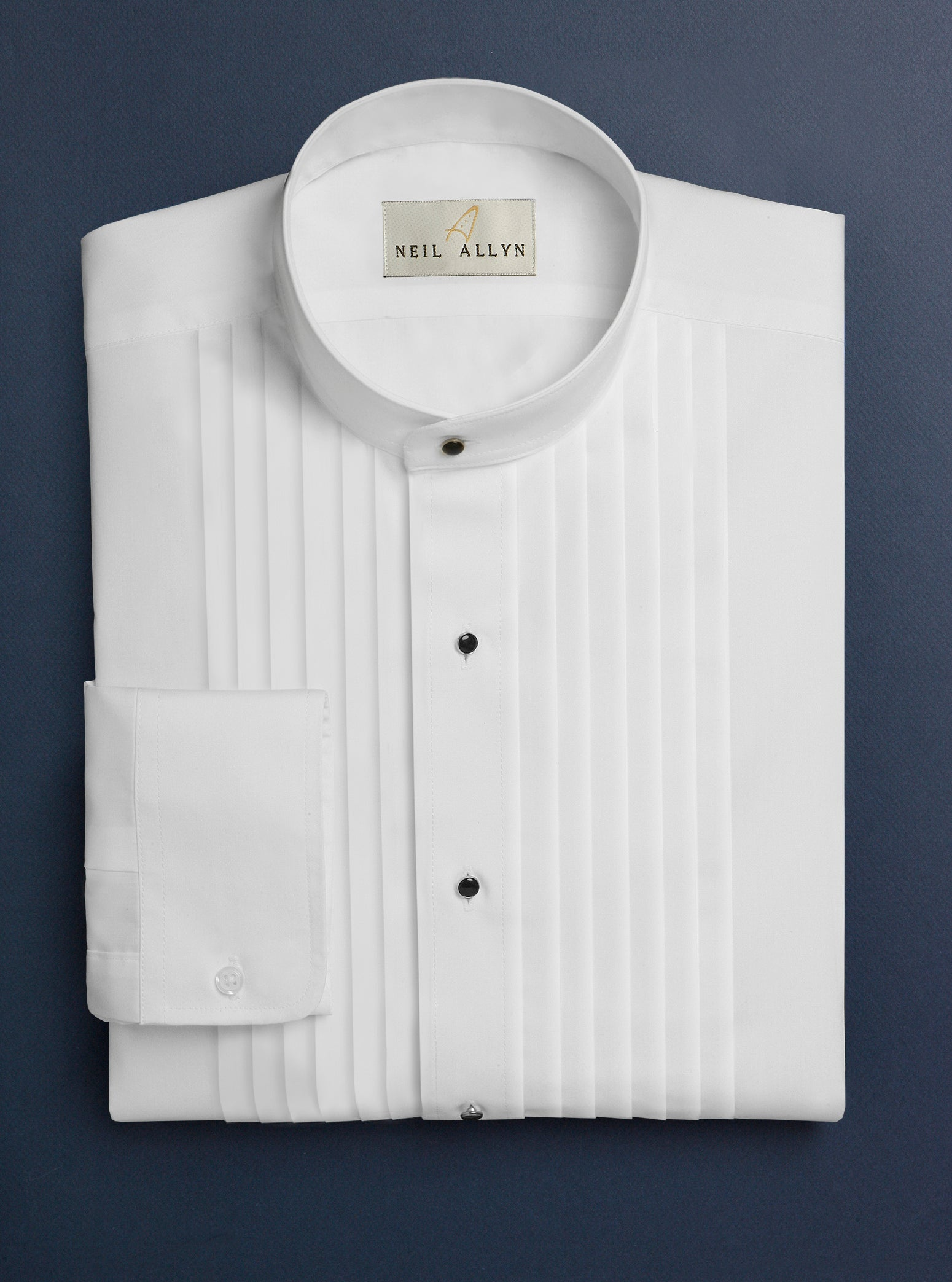 "Men's White 1/2"" Pleated Tuxedo Shirt with Mandarin Collar - Caterwear.com"