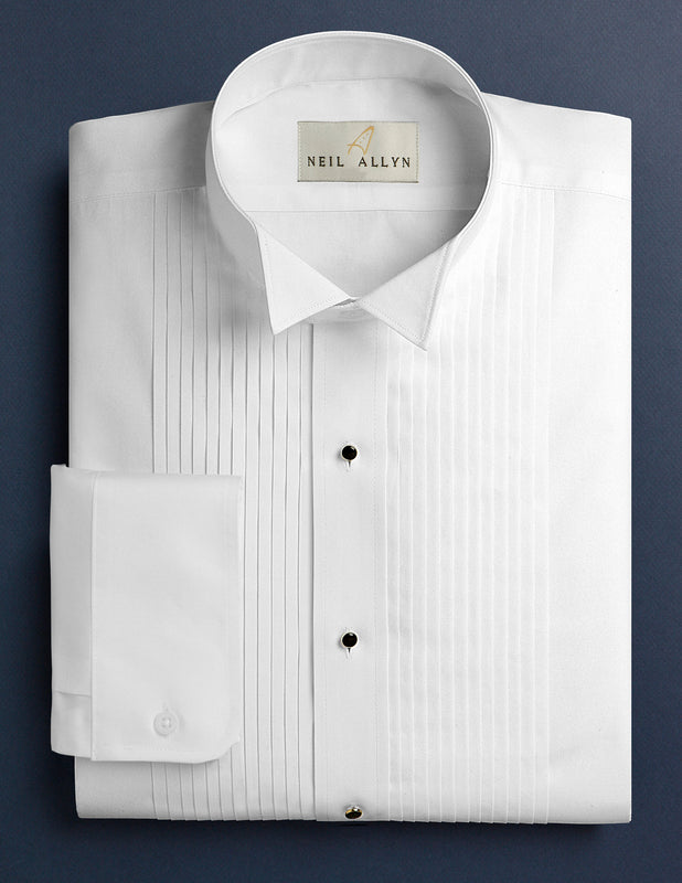 "Men's White 1/4"" Pleated Tuxedo Shirt with Wing-Tip Collar - Caterwear.com"