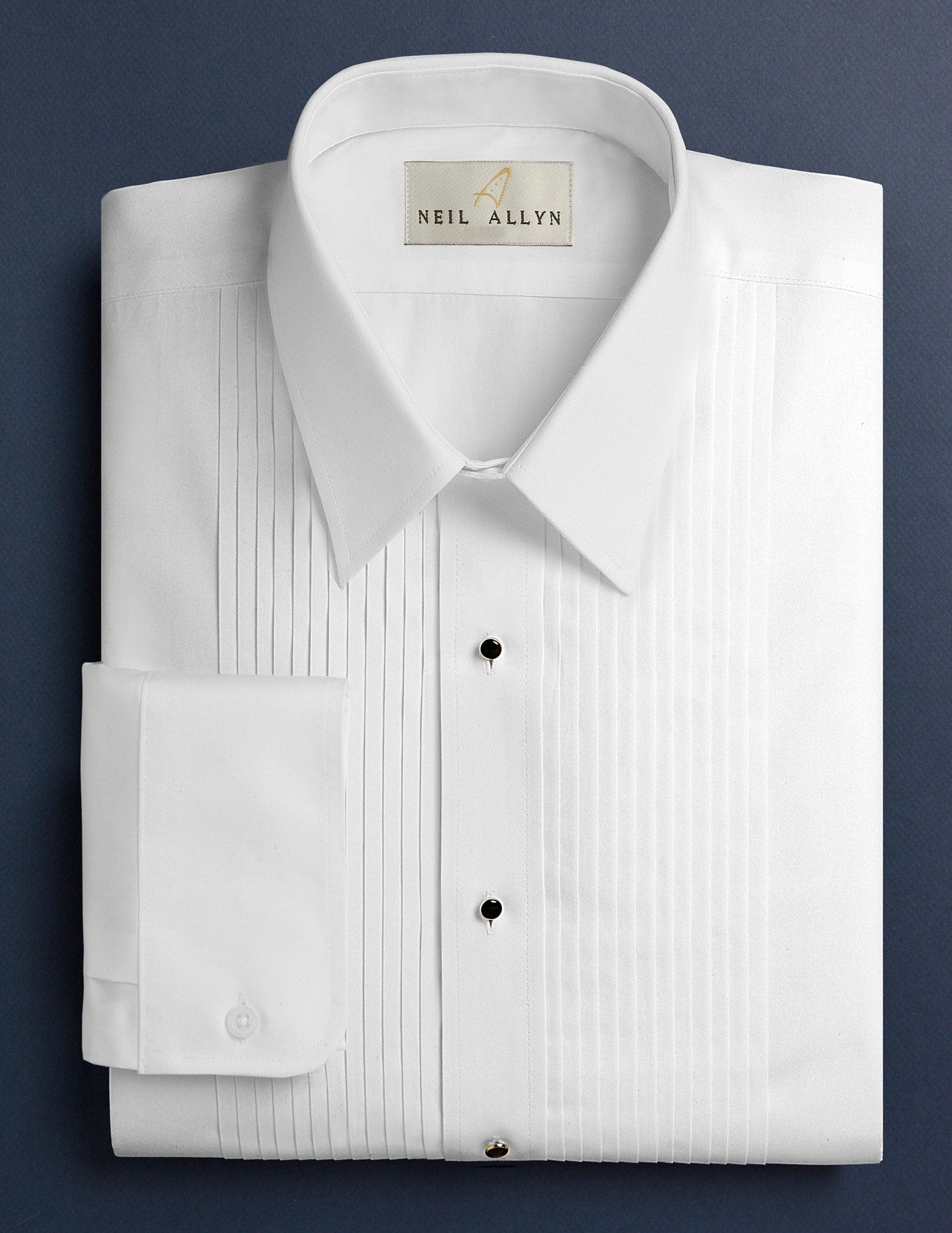 "Men's White 1/4"" Pleated Tuxedo Shirt with Lay Down Collar - Caterwear.com"