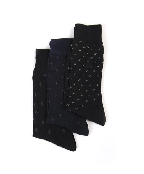 Blended Black & Navy Dress socks - 3 Pack - Assorted Patterns - Caterwear.com