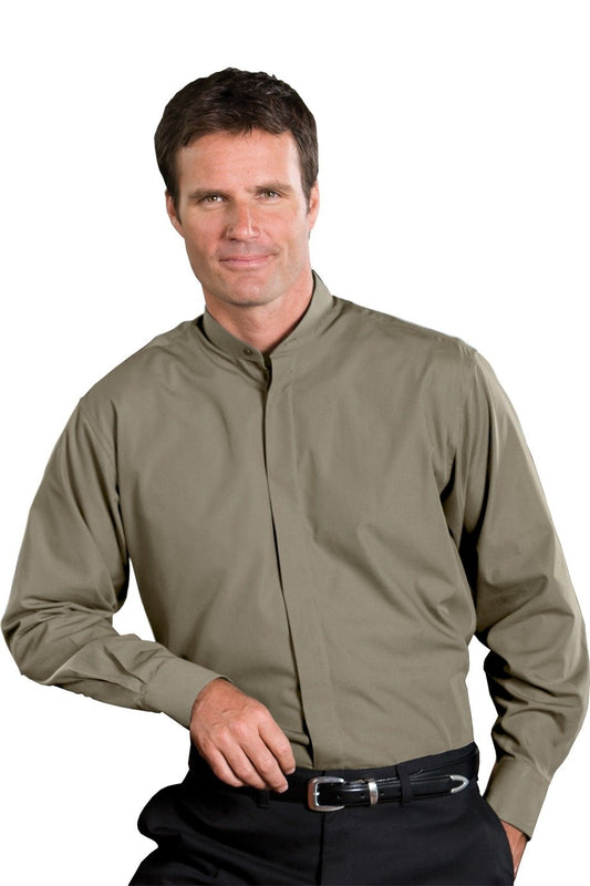 Men's Banded Collar Dress Shirt - Assorted Colors - Caterwear.com