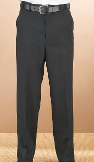 Men's Black Flat Front Pants - Caterwear.com