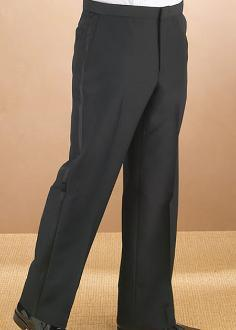 Men's Black Flat Front Tuxedo Pants - Caterwear.com