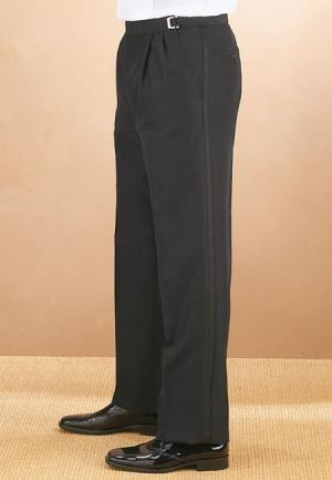Men's Black Pleated Tuxedo Pants With Adjustable Buckles - Caterwear.com