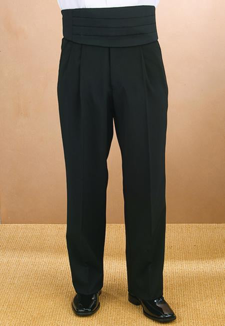 Men's Black Pleated Tuxedo Pants - Caterwear.com