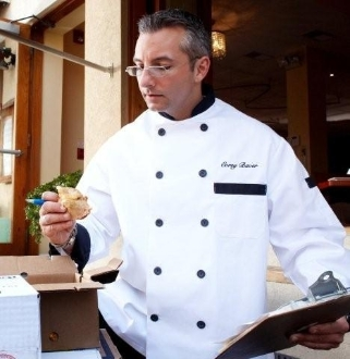 White Blended Chef Coat with Executive Black Trim & Buttons - Caterwear.com