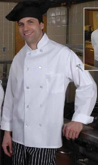White Blended Chef Coat with Pearl Buttons - Caterwear.com