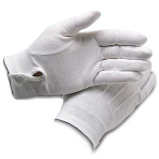 White Service Gloves with Wrist Snaps - No Grips - Caterwear.com