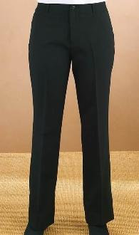 Women's Black Flat Front Pants - Caterwear.com
