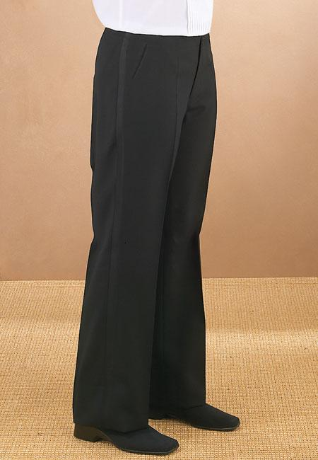 Women's Black Pleated Tuxedo Pants - Caterwear.com