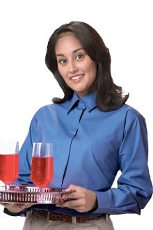 Women's Economy Cafe Shirt w/ Covered Placket -Assorted Colors - Caterwear.com