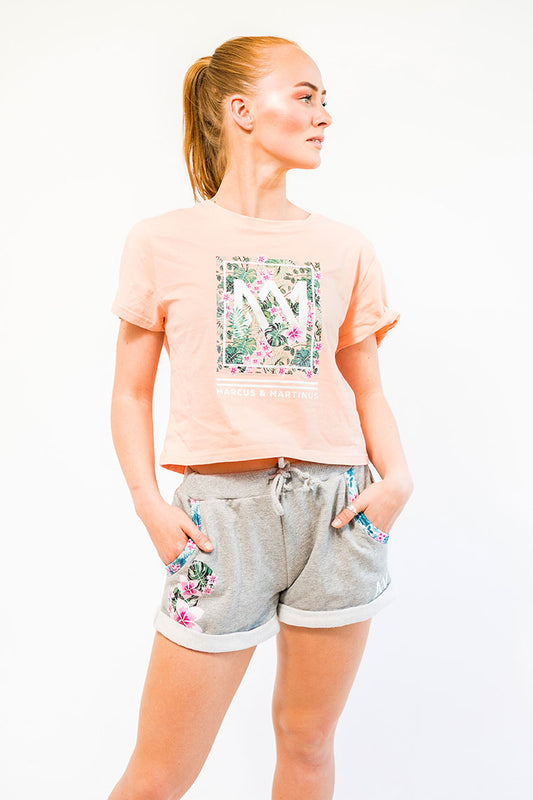 Crop Top T-Shirt | Apricot