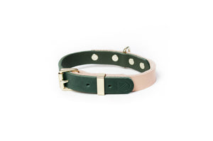 Dog Collar 2 Tone Natural / Green
