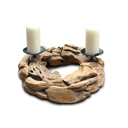 Root Wood Ring Candle Holder