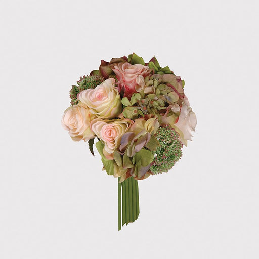 Green/Pink/Cream Rose Hydrangea Seed Head Posy