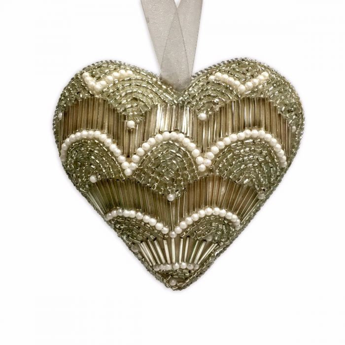 Dasher Gold and Pearl Beaded Heart - Antique Gold