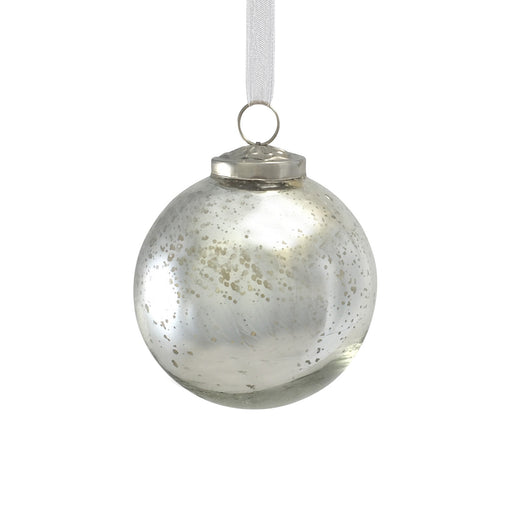 Medium Antique Silver Glass Bauble
