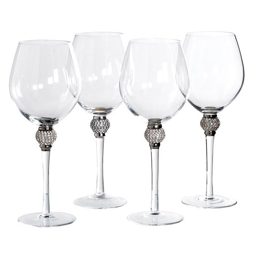 Silver/Crystal Red Wine Glass