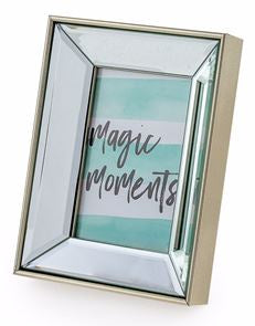 "Antique Silver Edged Mirror 4x6"" Photo Frame"