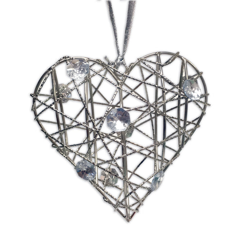 Hanging Wire Heart With Gems - Silver