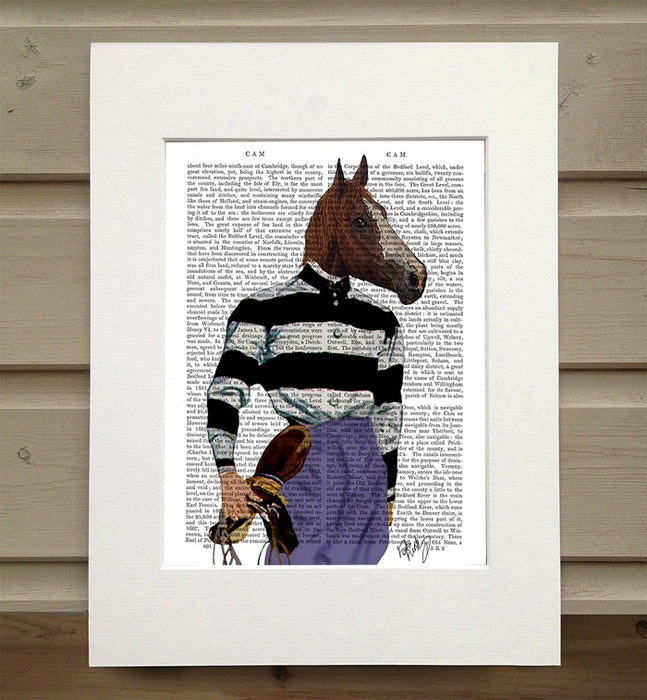 Horse Racing Jockey, Portrait Book Print