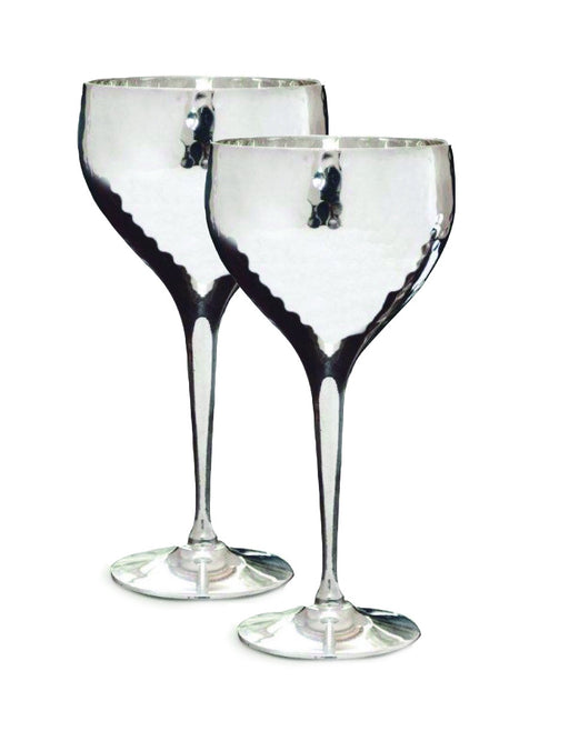 Silver Plated Hammered Wine Goblets