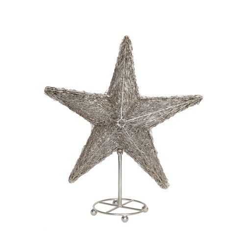 Small Silver LED Table Star with Stand