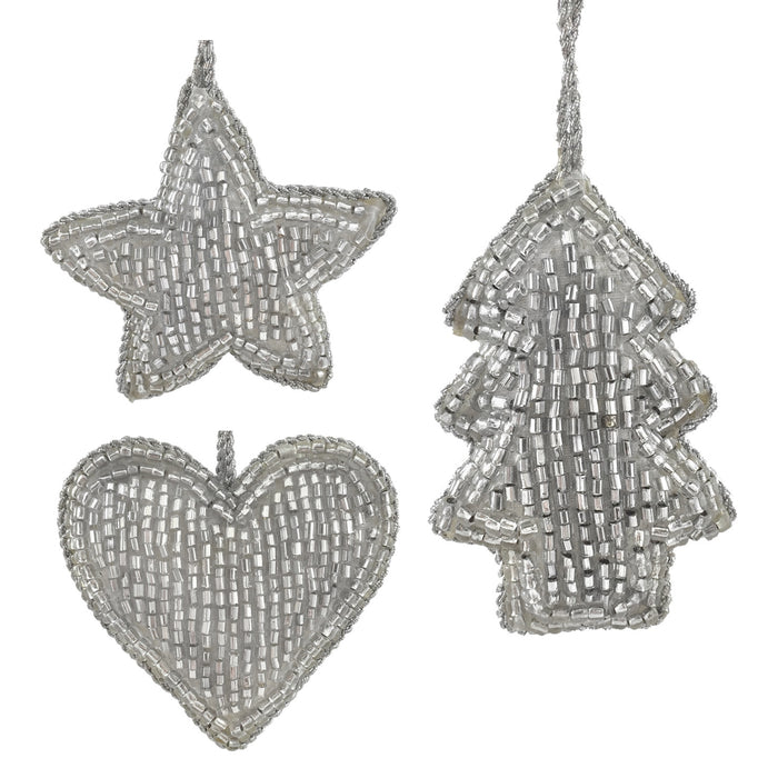 Mini Embroidered Set of 3 Silver Hanging Decorations - Star, Heart, Tree