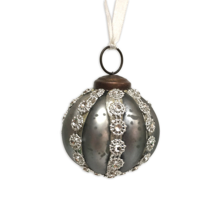 Gem and Beaded Glass Bauble - Smoke