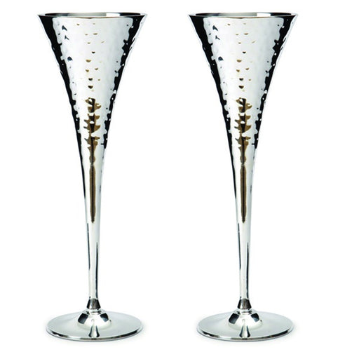 Silver Plated Hammered Champagne Chalices