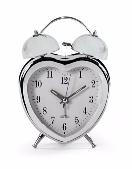 Chrome Heart Shape Alarm Clock