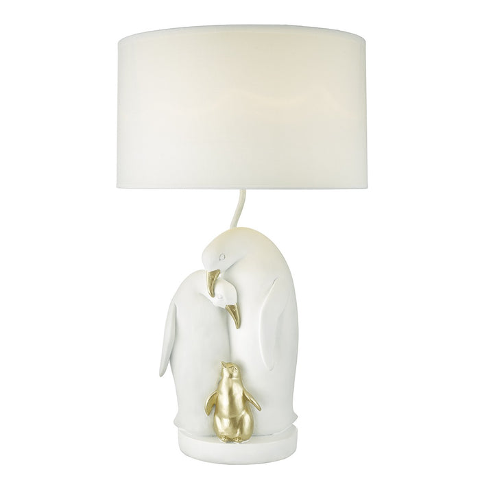 Rookery Table Lamp White & Gold C/W White Cotton Shade