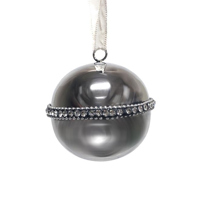 Medium Silver Ball with Crystal Decoration
