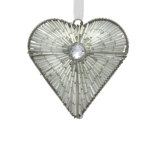 Small Gem & Bead Heart Hanging Decoration - Silver