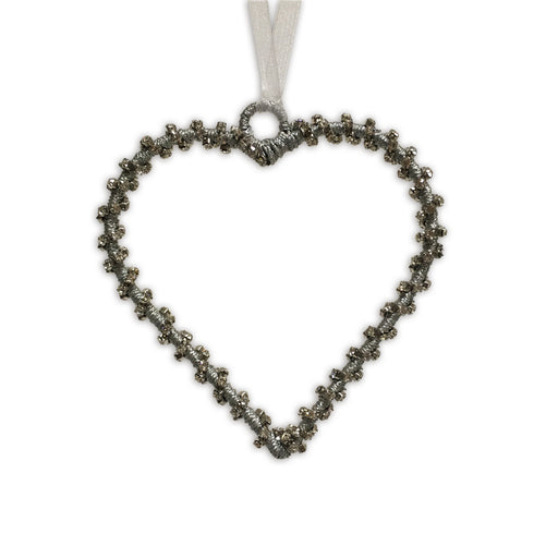 Silver Twisted Beaded Heart Decoration