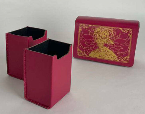 Series 1 Authentic Full Grain Leather Double Deck Box: Rose Red Akiza