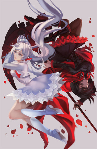Limited 11x17 Metallic Pearl RWBY Poster - Ruby and Weiss