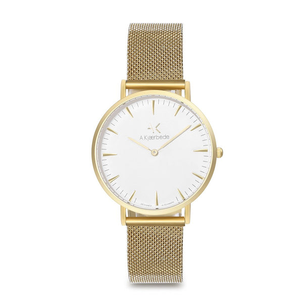 Essential Watch - Gold/White/Gold Mesh