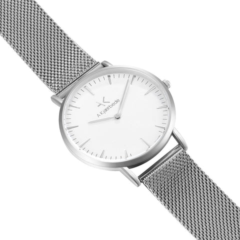 Essential Watch - Silver/White/Silver Mesh