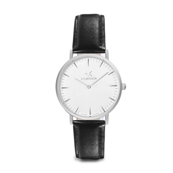 Essential Watch - Silver/White/Black Leather