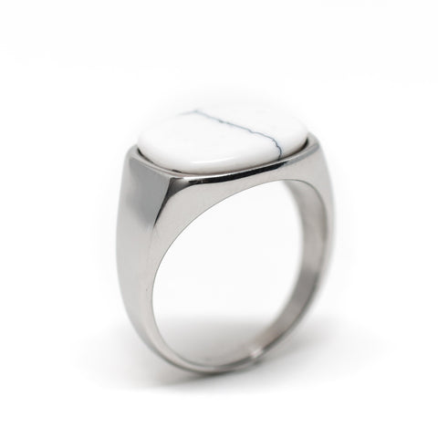 Himsel Ring – Silver White Marble